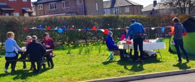 Cake stall and picnic in full swing.