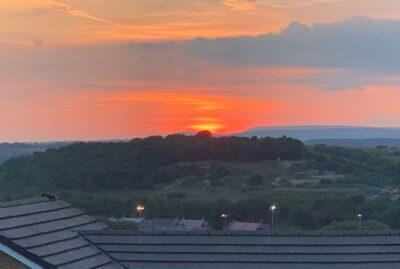 Sunset from Peel Park, Bowland Fells afar.